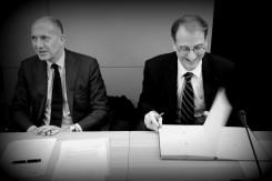 Philippe Joffard, pdt du Comité Sport du MEDEF ((g) et Denis Masséglia, pdt du CNOSF (d)